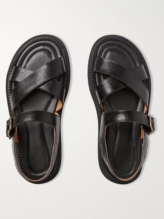 Dries Van Noten Textured-Leather Sandals