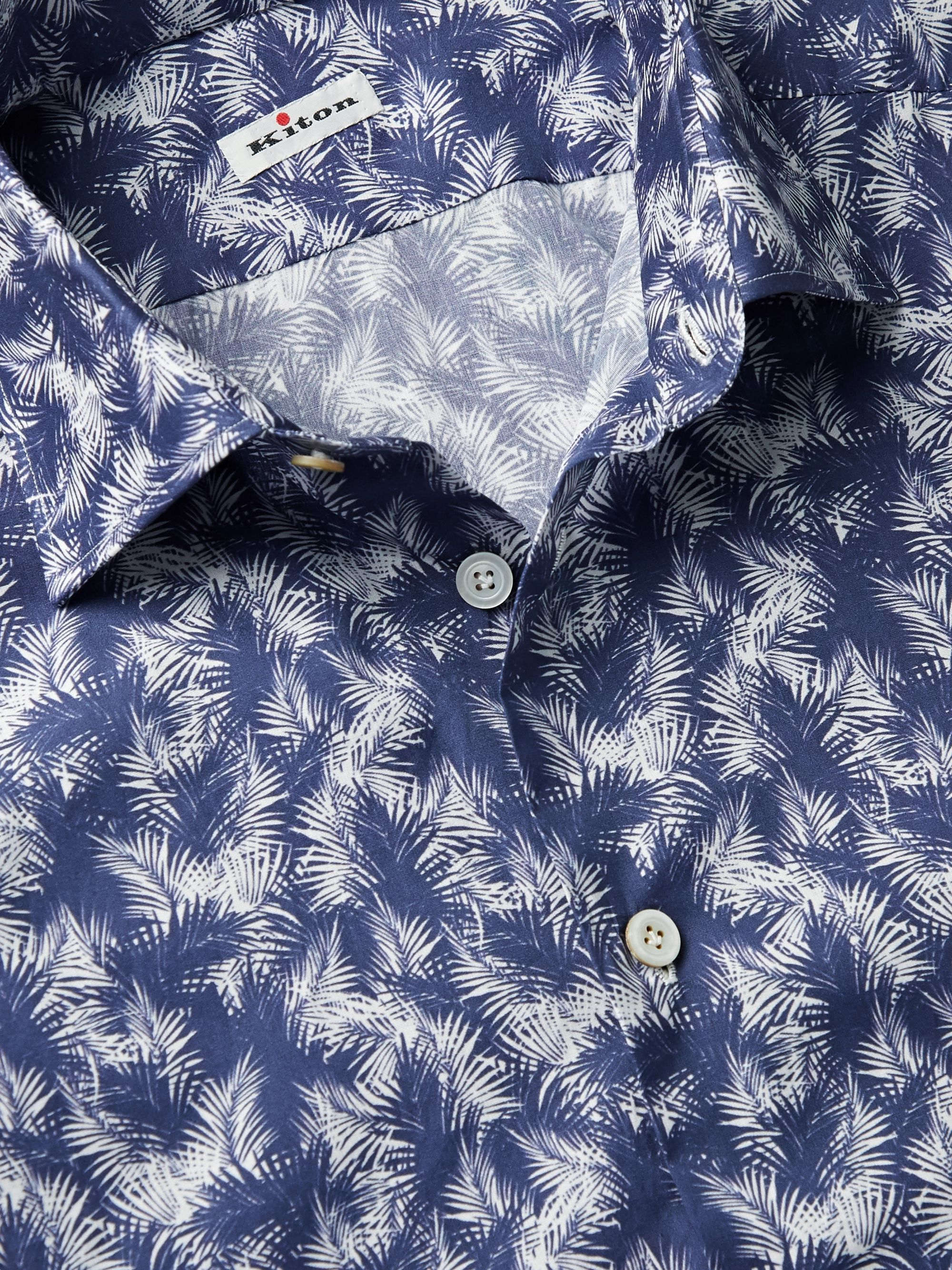 Storm Blue Slim-fit Printed Cotton-poplin Shirt   Kiton
