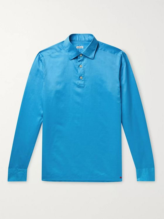 KITON Cotton and Linen-Blend Half-Placket Shirt