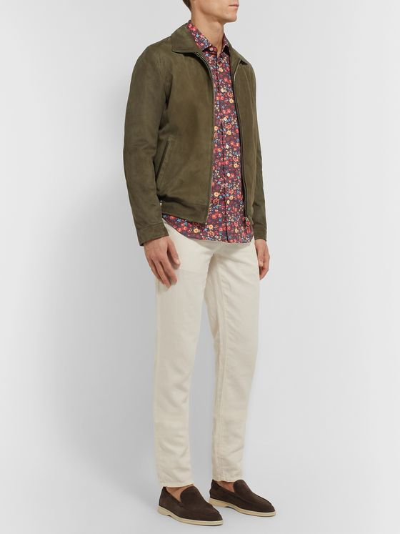 Kiton Slim-Fit Floral-Print Cotton-Poplin Shirt