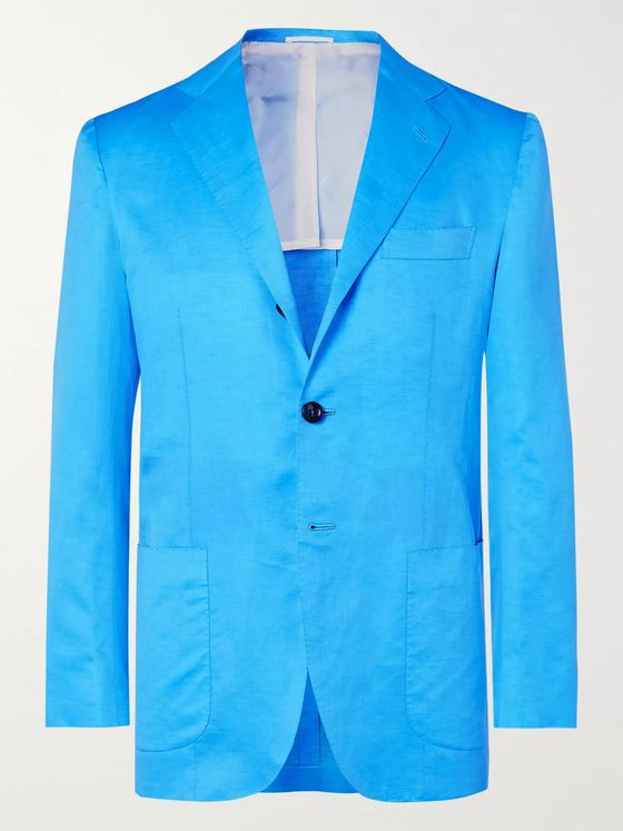 Kiton Turquoise Slim-Fit Unstructured Cotton and Linen-Blend Blazer