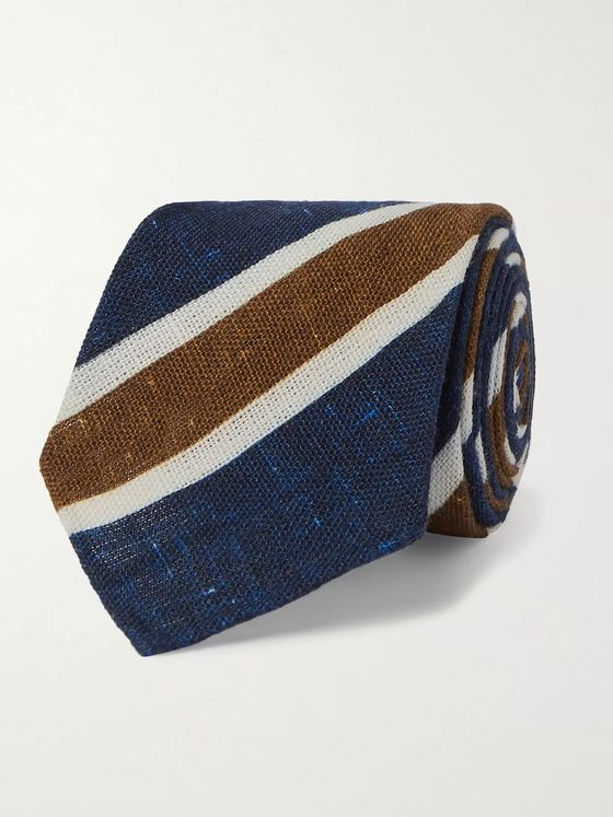 Kiton 8cm Striped Mélange Cotton Tie