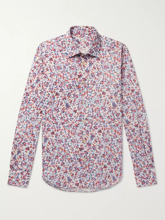 Kiton Slim-Fit Printed Cotton-Poplin Shirt