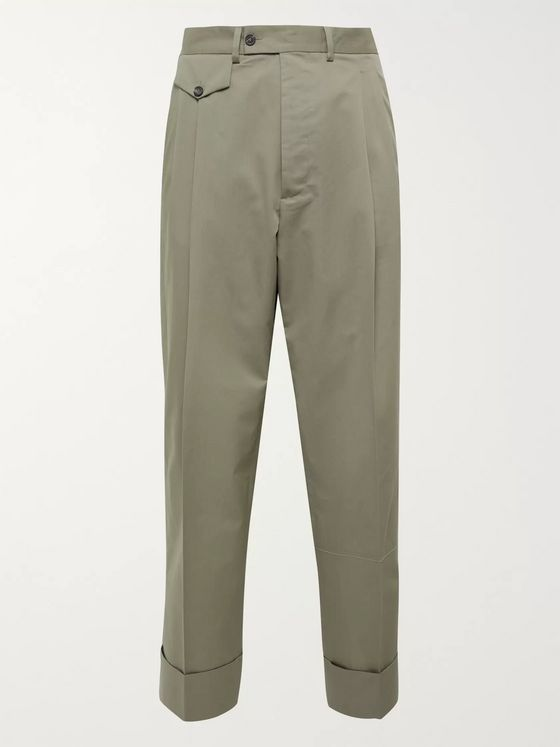 Rochas Wide-Leg Pleated Cotton and Silk-Blend Trousers