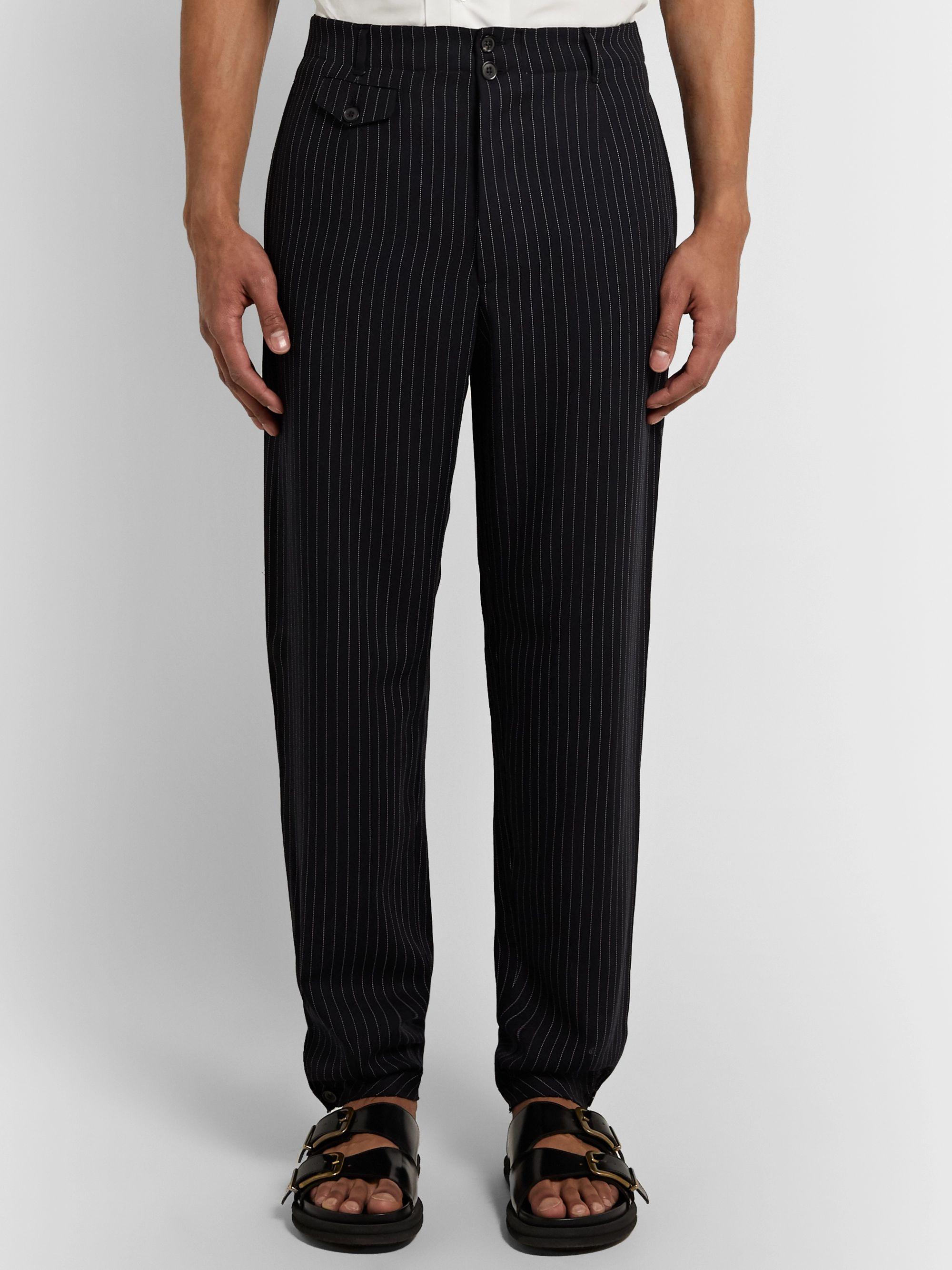 Rochas Tapered Pinstriped Virgin Wool Trousers
