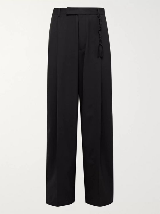 Rochas Midnight-Blue Pleated Wool Trousers