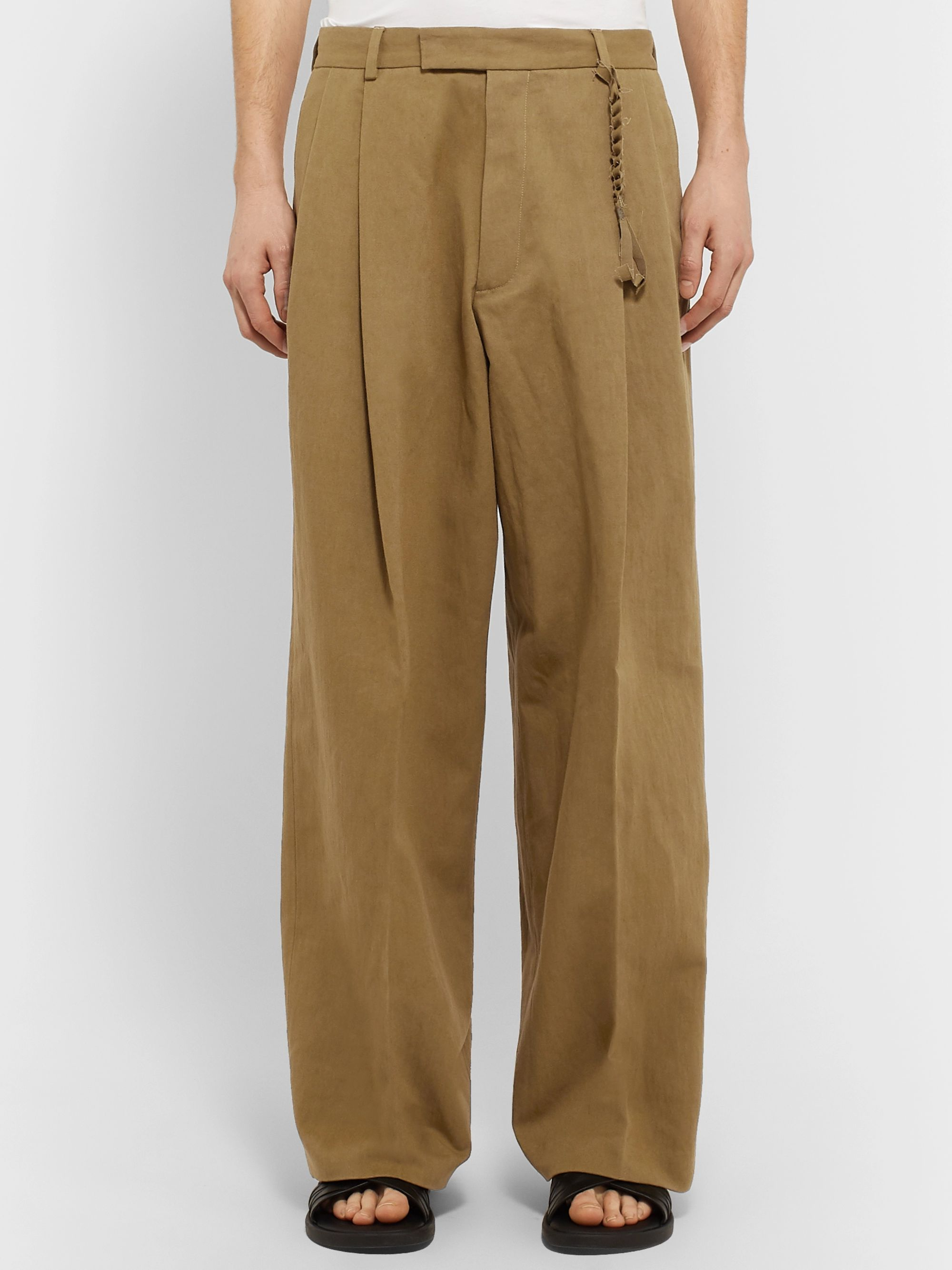 Rochas Wide-Leg Pleated Cotton and Linen-Blend Trousers