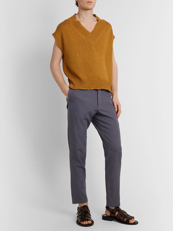 Rochas Virgin Wool and Cotton-Blend Gabardine Trousers