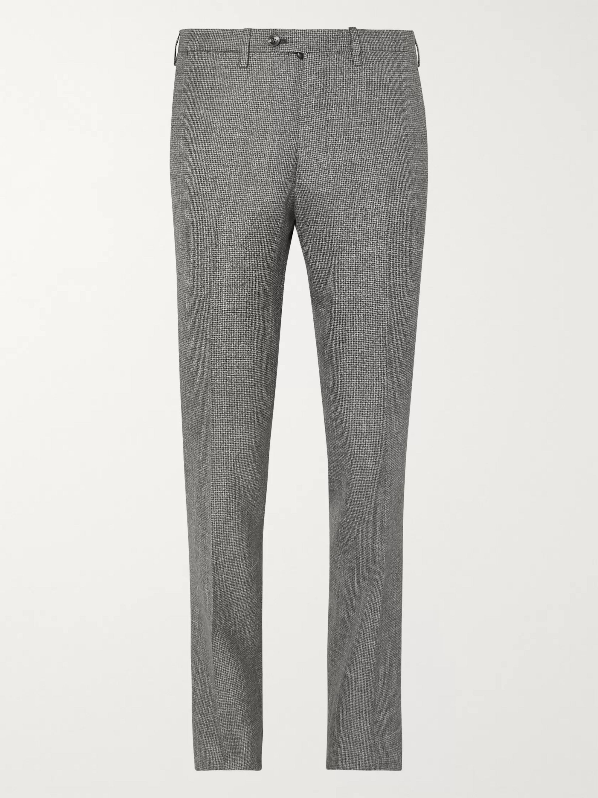 KITON Grey Slim-Fit Micro-Puppytooth Cashmere, Linen and Silk-Blend Suit Trousers
