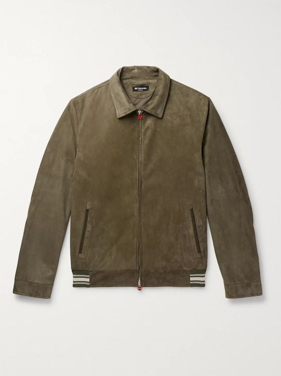 Kiton Slim-Fit Suede Bomber Jacket
