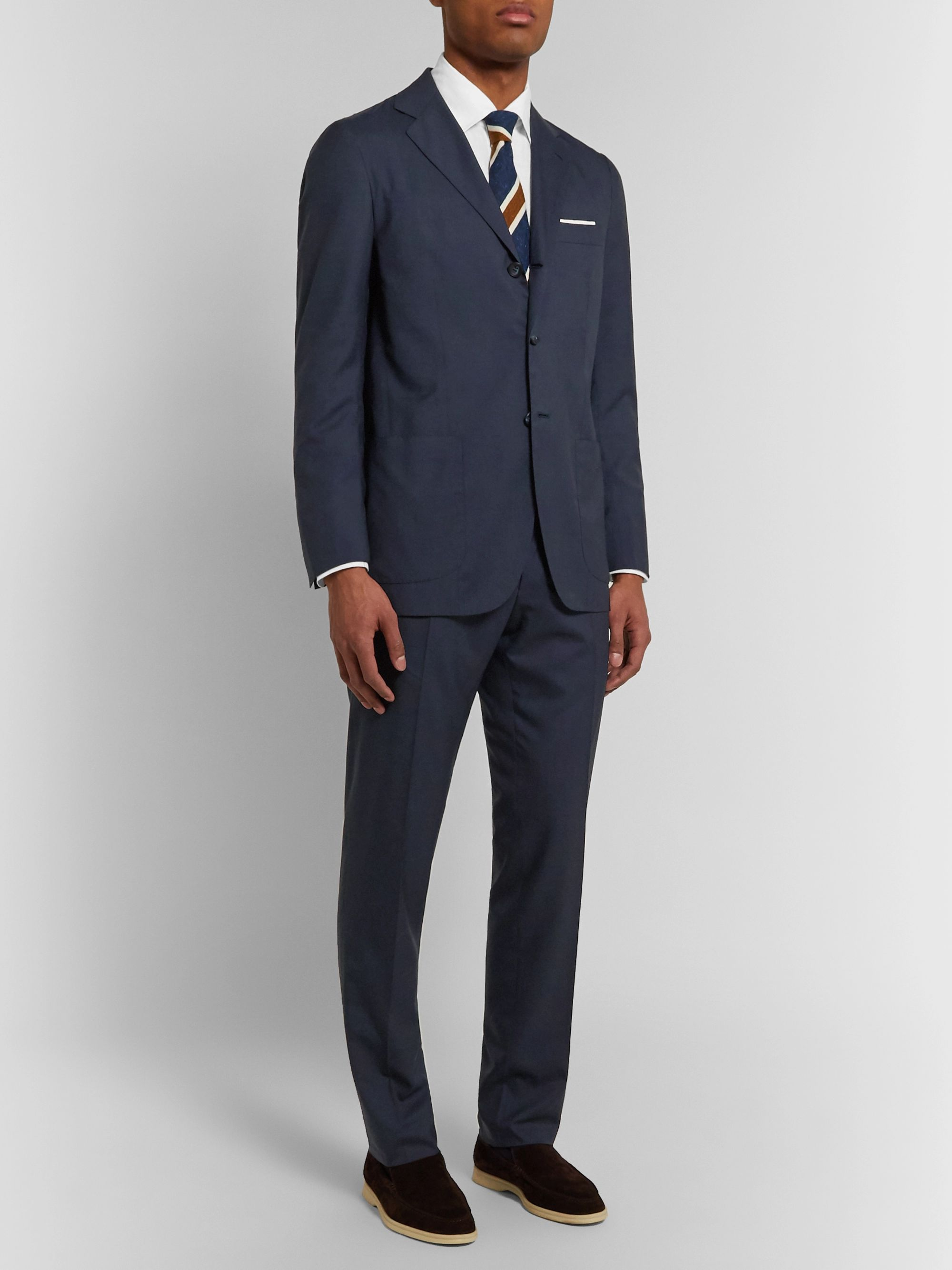 Kiton Slim-Fit Unstructured Puppytooth Cashmere Suit Jacket