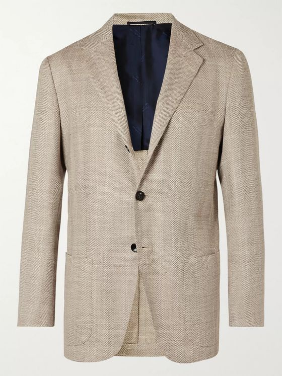 Kiton Cream Unstructured Herringbone Cashmere, Wool, Silk and Linen-Blend Blazer