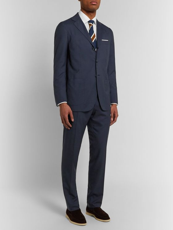 KITON Slim-Fit Puppytooth Cashmere Suit Trousers
