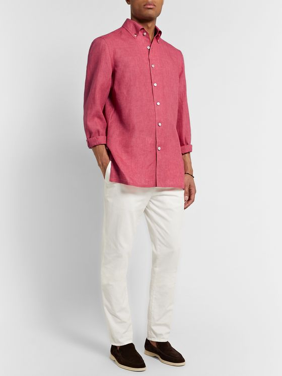 KITON Button-Down Collar Linen Shirt