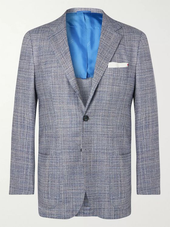 Kiton Blue Slim-Fit Unstructured Cashmere, Virgin Wool, Silk and Linen-Blend Blazer