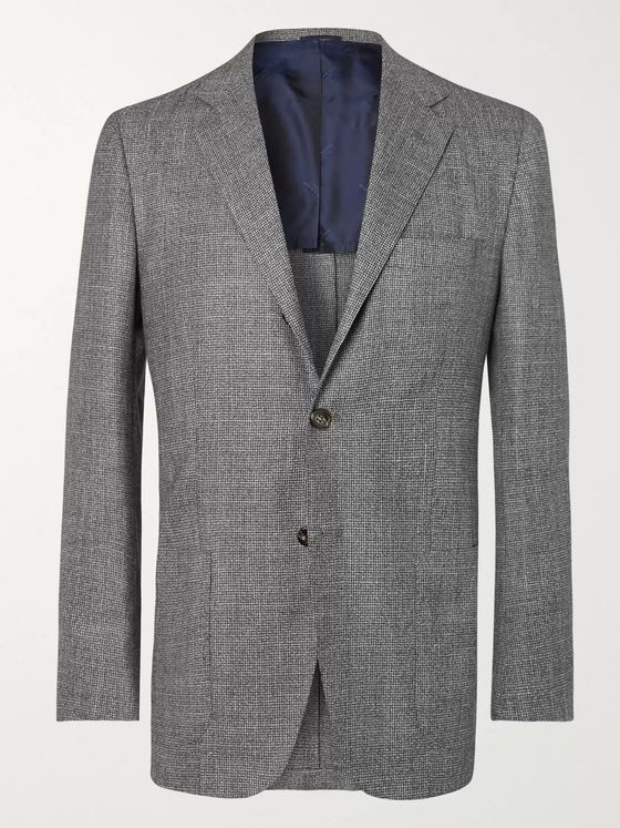 KITON Grey Slim-Fit Unstructured Micro-Puppytooth Cashmere, Linen and Silk-Blend Suit Jacket