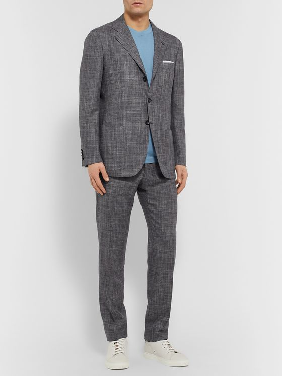 KITON Puppytooth Cashmere, Virgin Wool, Silk and Linen-Blend Suit Jacket