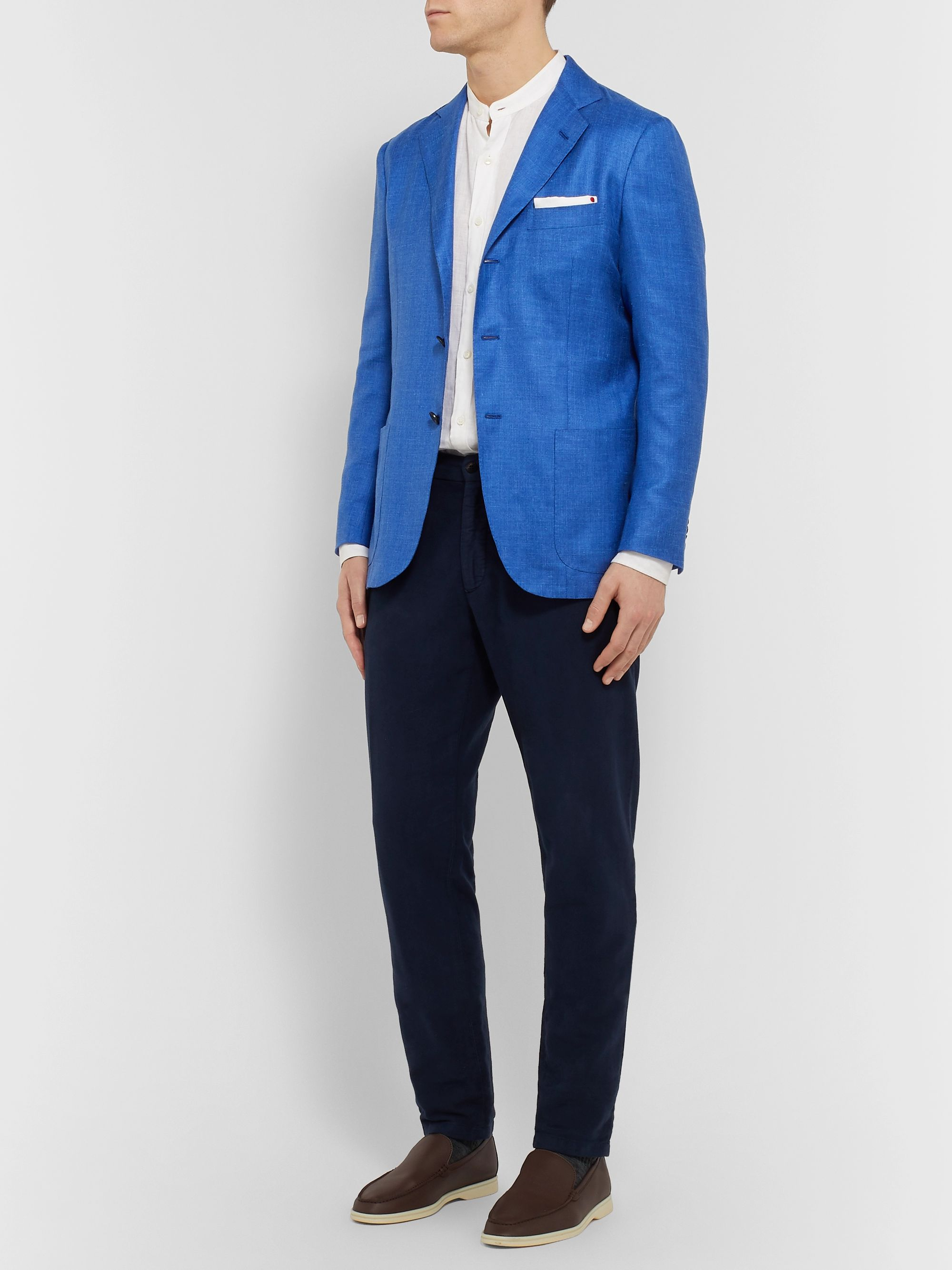 Kiton Azure Slim-Fit Unstructured Cashmere, Linen and Silk-Blend Blazer
