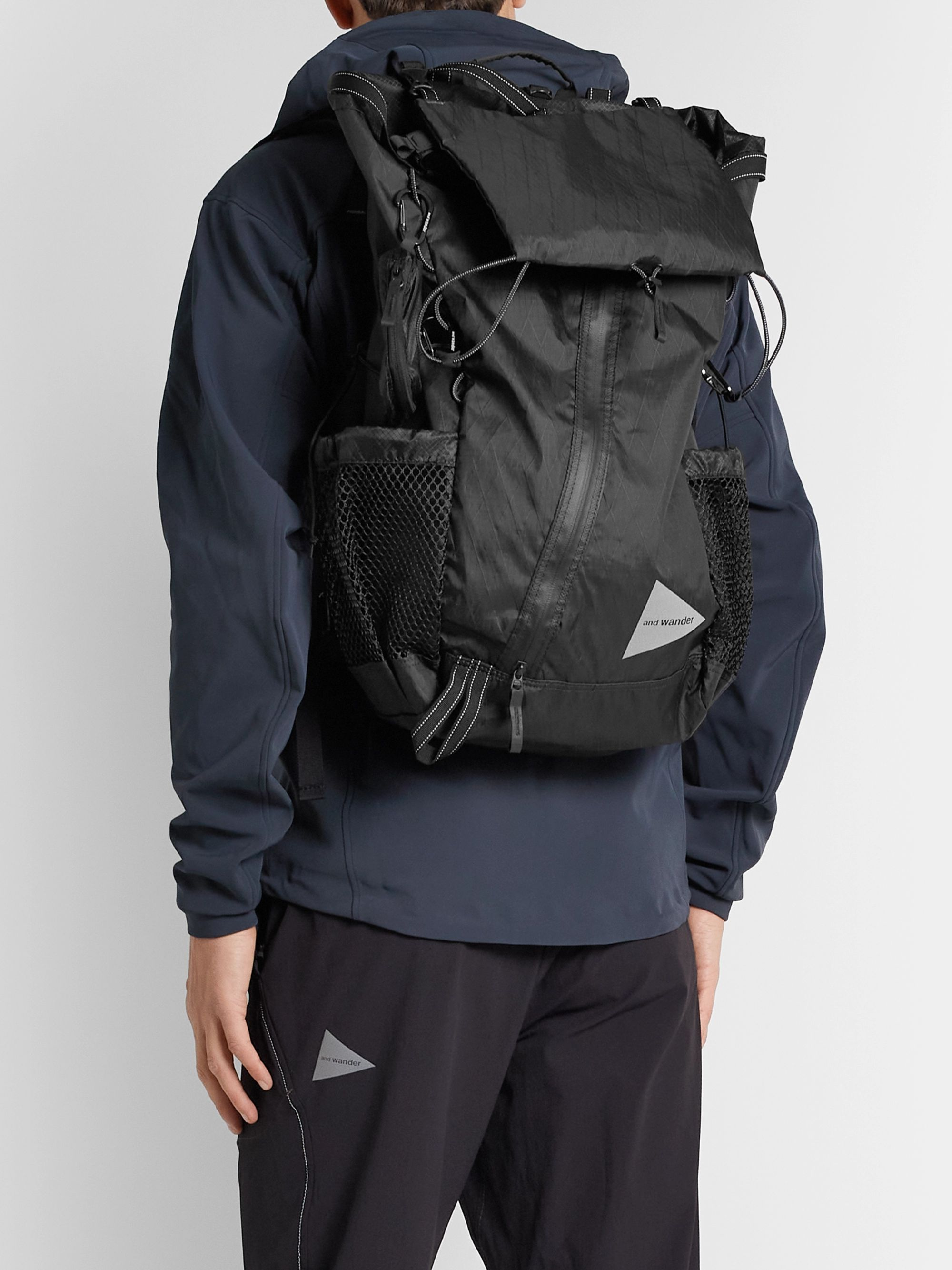 AND WANDER Logo-Print X-Pac Shell and Mesh Backpack