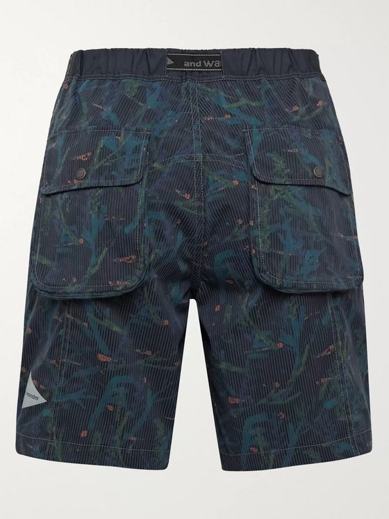 And Wander Belted Printed COOLMAX Seersucker Shorts