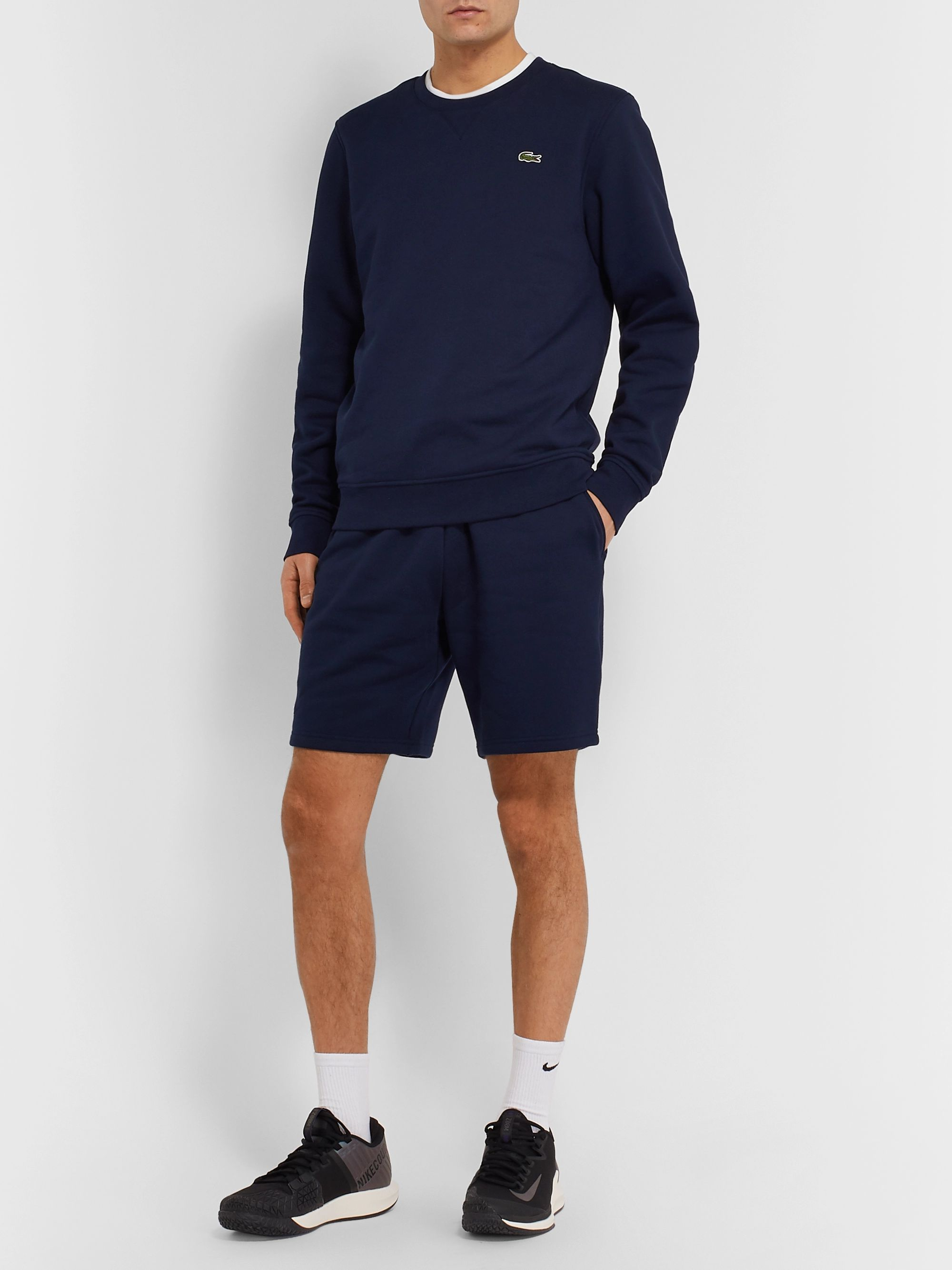 Lacoste Tennis Logo-Appliquéd Fleece-Back Cotton-Blend Jersey Sweatshirt