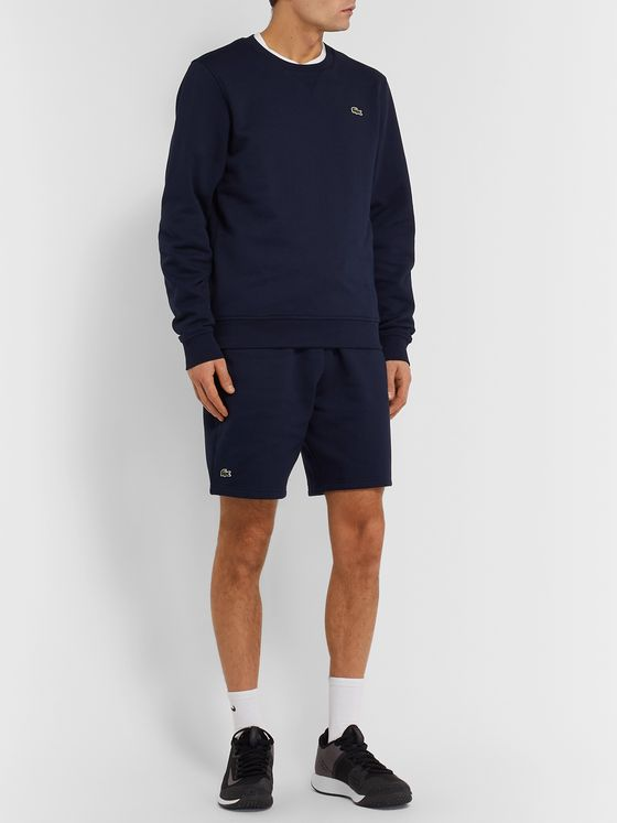 Lacoste Tennis Logo-Appliquéd Fleece-Back Cotton-Blend Jersey Shorts
