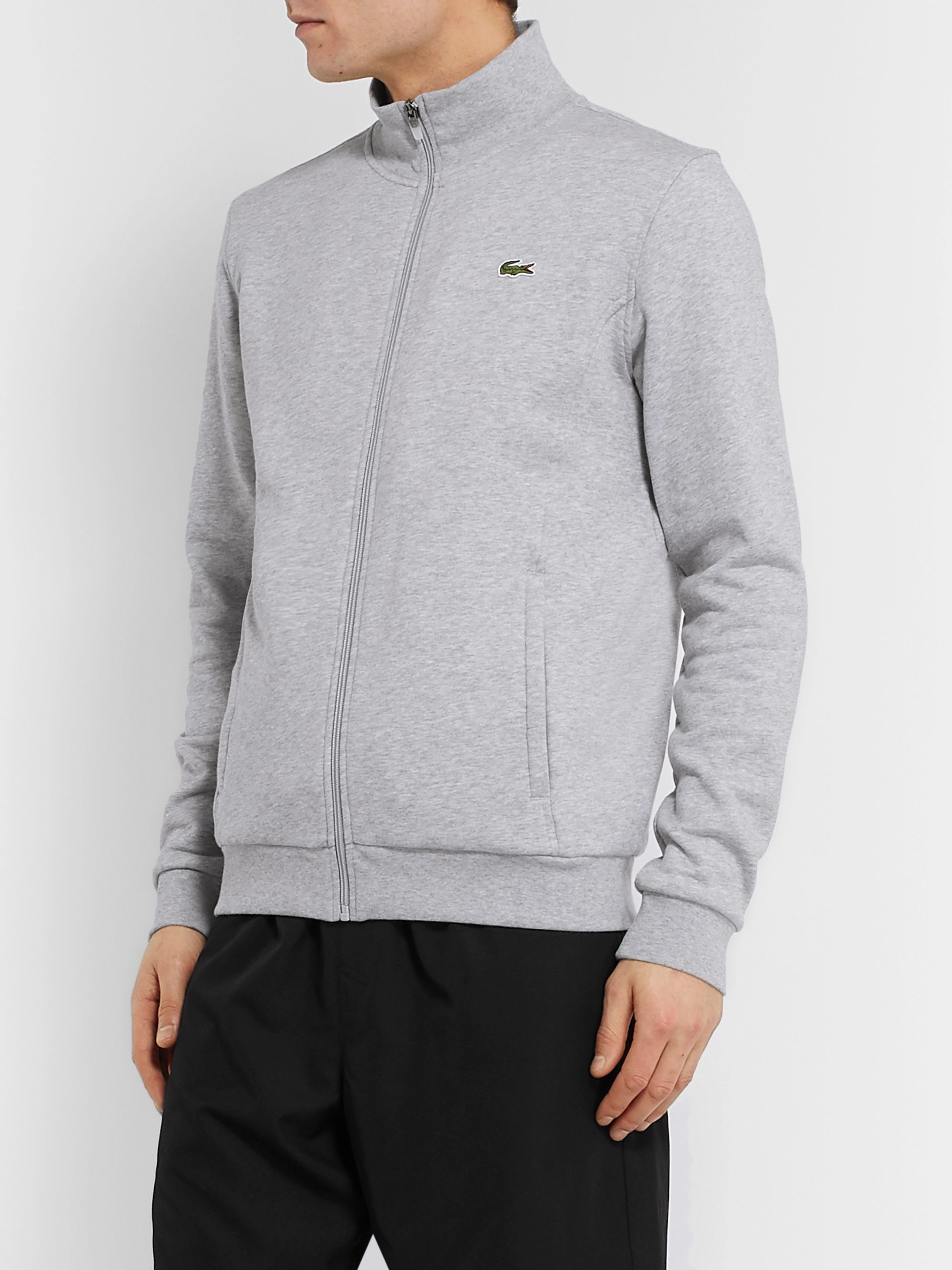 Lacoste Tennis Logo-Embroidered Fleece-Back Cotton-Blend Jersey Track Jacket