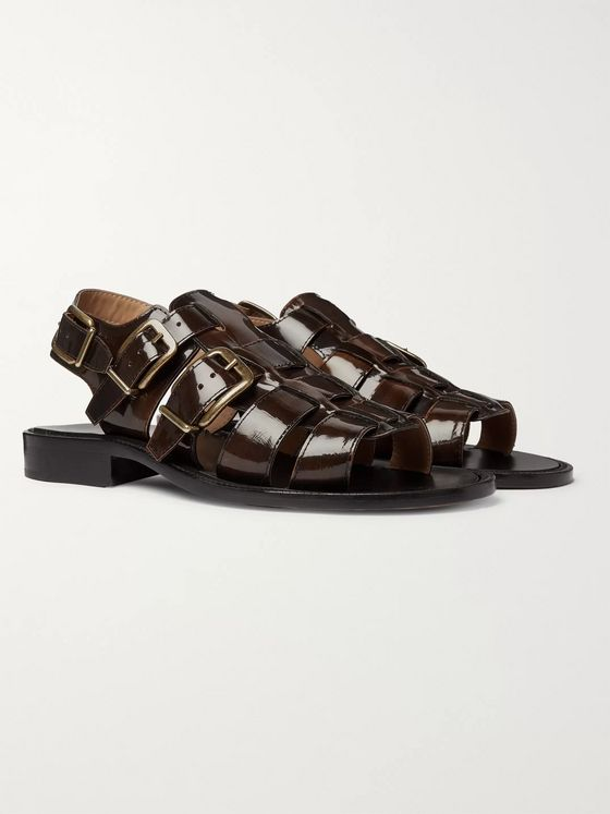 Dries Van Noten Woven Patent-Leather Sandals