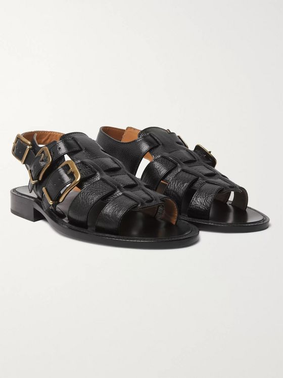 Dries Van Noten Woven Full-Grain Leather Sandals