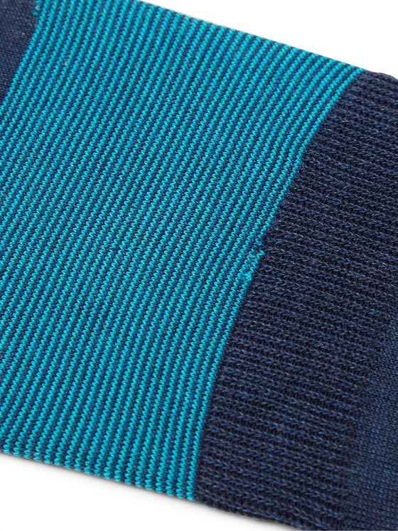 Corgi Striped Cotton-Blend No-Show Socks