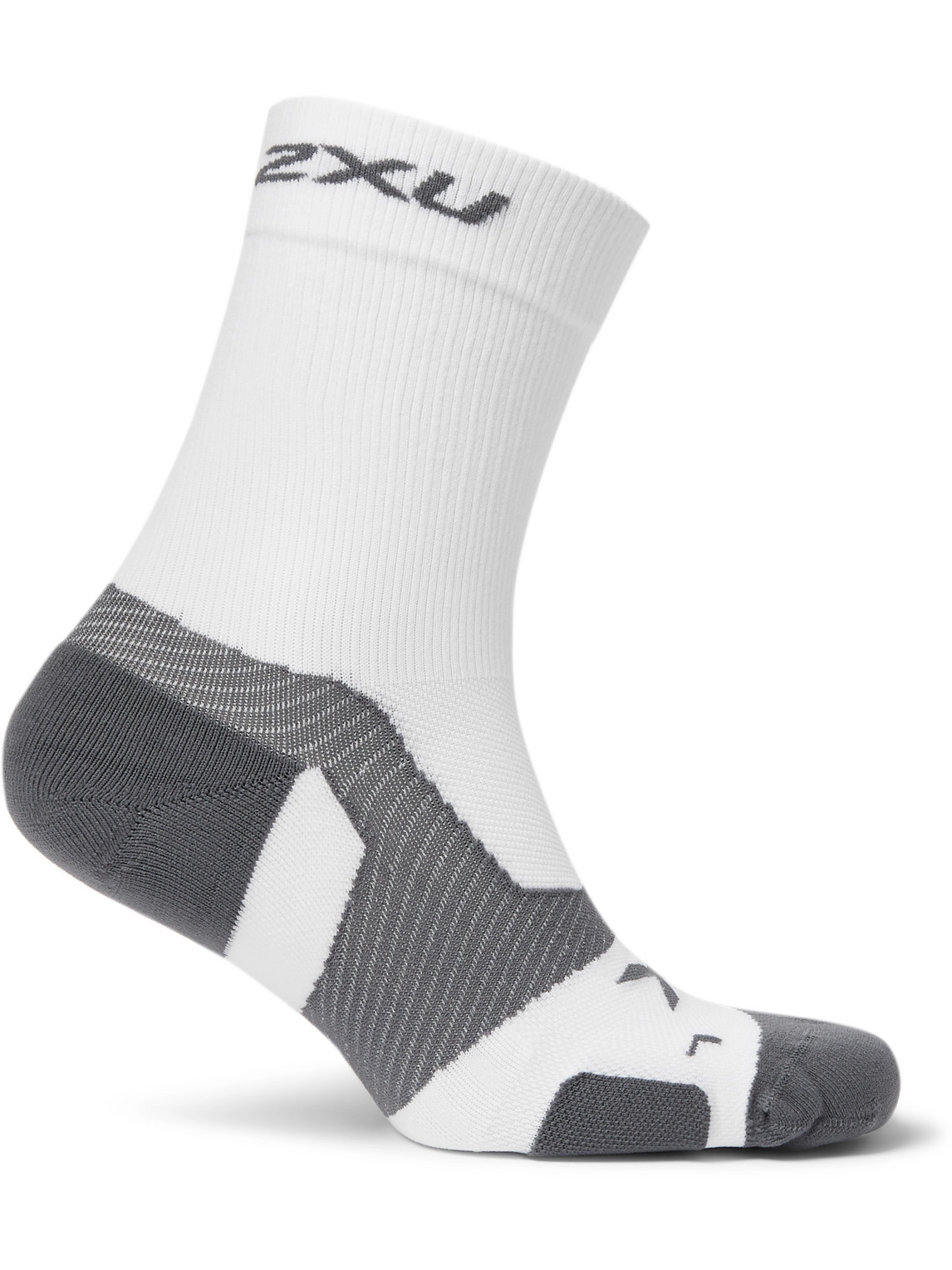 2xu Vectr Cushioned Stretch-knit Crew Socks In White