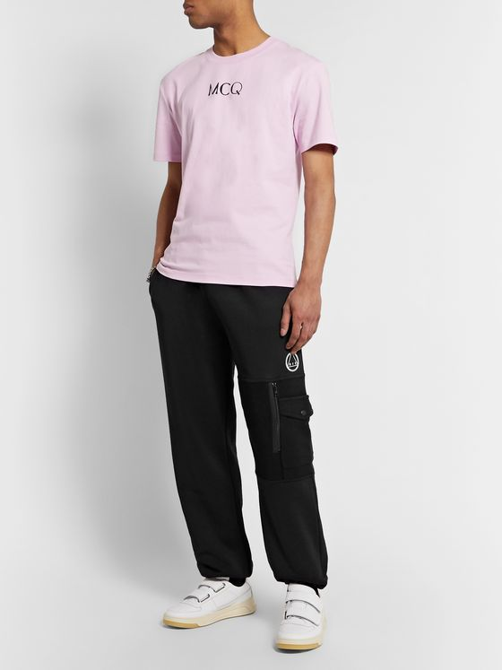 McQ Alexander McQueen Panelled Logo-Embroidered Loopback Cotton-Blend Jersey Sweatpants