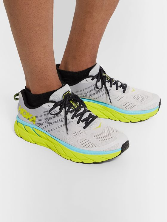 Hoka One One Clifton 6 Embroidered Mesh Running Sneakers