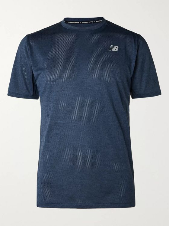 New Balance Anticipate Slim-Fit Mélange Stretch-Mesh T-Shirt