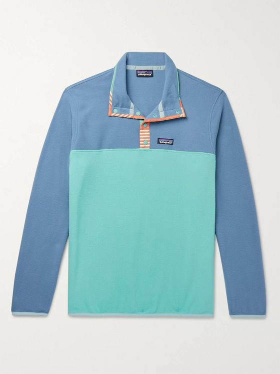 Patagonia Snap-T Nylon-Trimmed Colour-Block Micro D Fleece Pullover