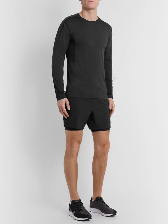 Reigning Champ Performance Slim-Fit Mesh-Panelled Mélange Jersey T-Shirt