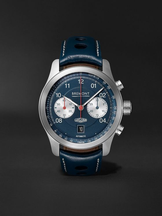 BREMONT Jaguar D-Type Limited Edition Automatic Chronograph 43mm Stainless Steel and Leather Watch, Ref. No. D-TYPE-BL-R-S