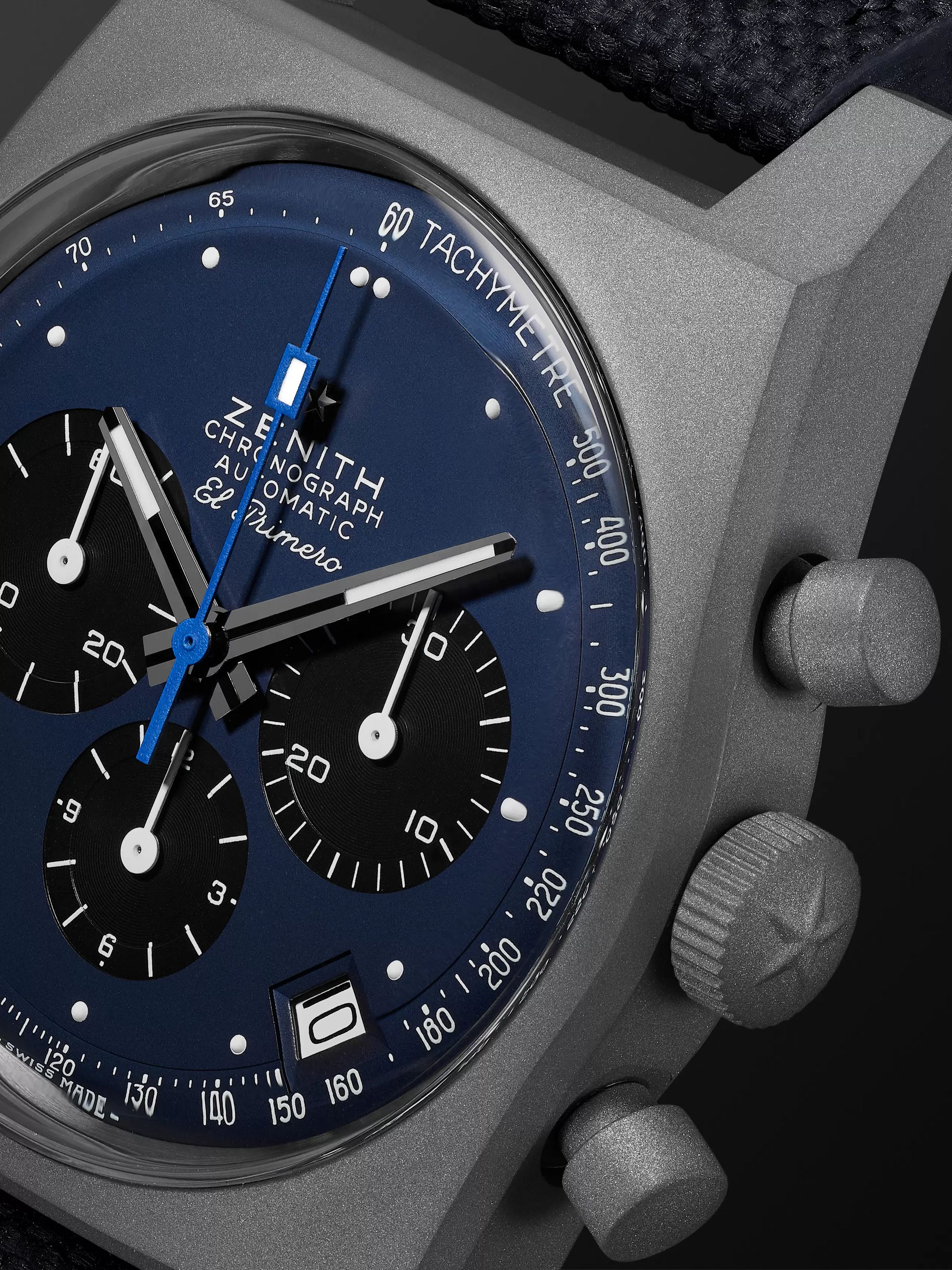 Zenith El Primero Revival A384 'Edge of Space' Limited Edition Automatic Chronograph 37mm Titanium and Rubber Watch, Ref. No.