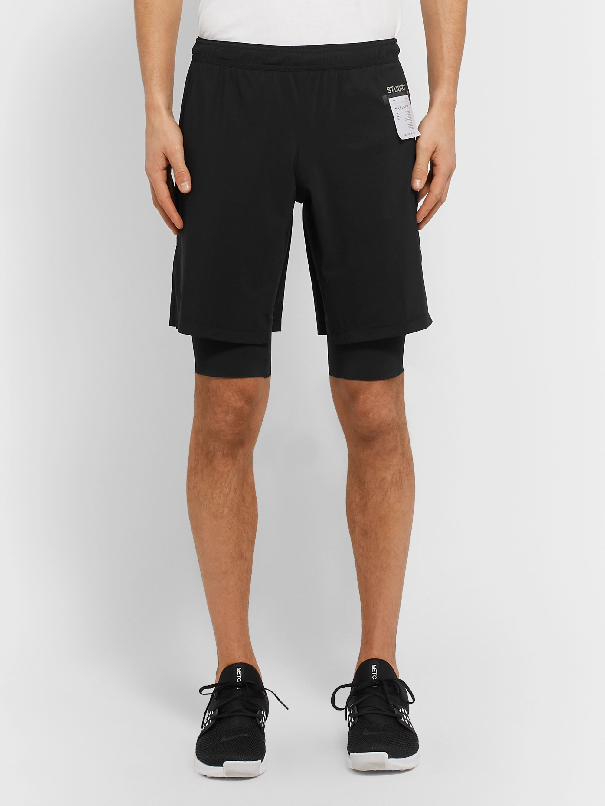 Satisfy Studio Slim-Fit Layered Stretch-Jersey Shorts
