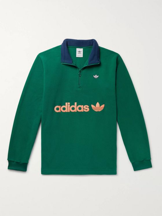 adidas Originals Samstag Colour-Block Logo-Appliquéd Fleece Half-Zip Sweatshirt