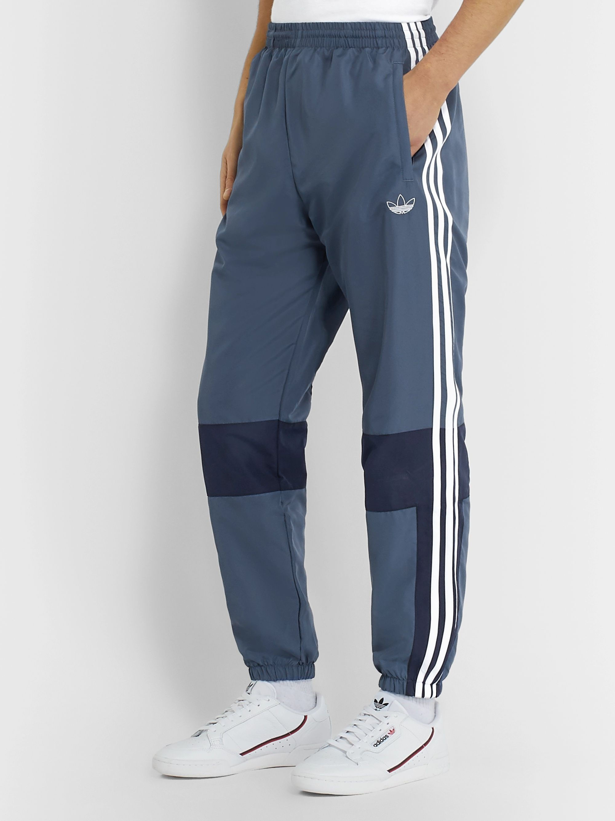 adidas Originals Tapered Colour-Block Striped Shell Track Pants