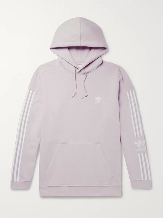 adidas Originals Logo-Embroidered Fleece-Back Cotton-Blend Jersey Hoodie