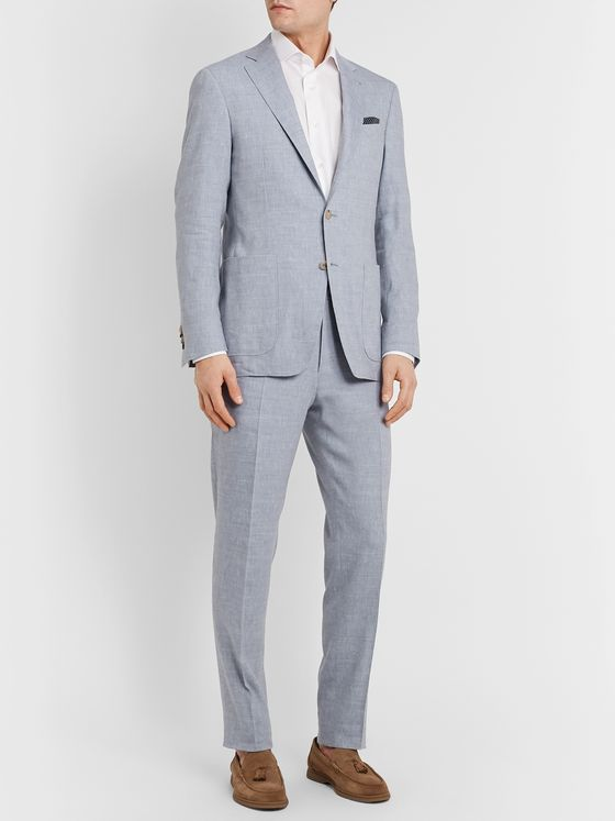 Canali Kei Slim-Fit Unstructured Linen and Wool-Blend Suit Jacket