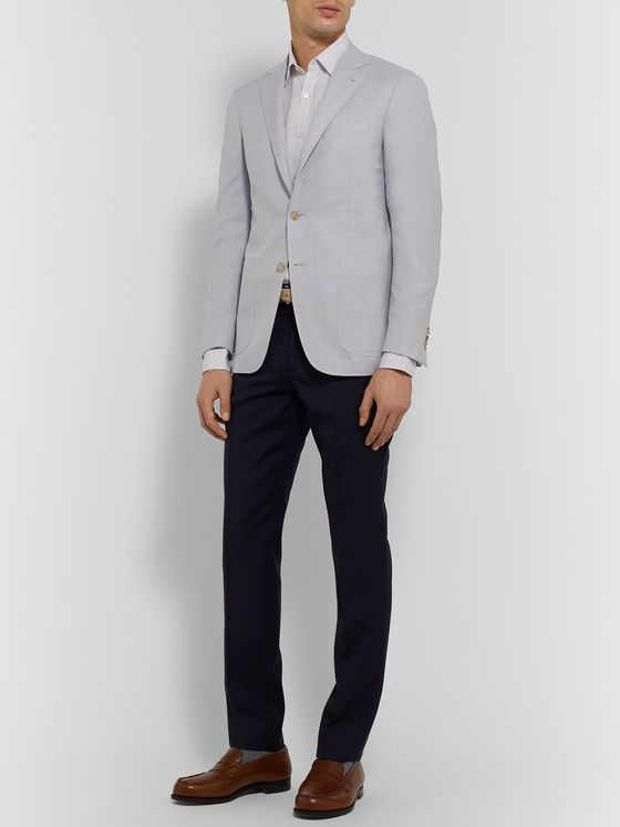 Canali Kei Slim-Fit Unstructured Super 130s Hopsack Wool Blazer