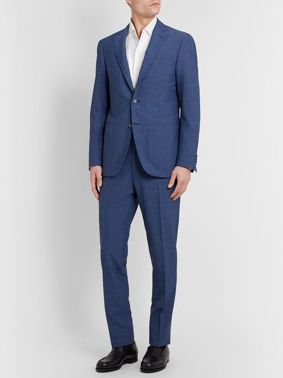 Canali Kei Slim-Fit Checked Wool-Blend Seersucker Suit Jacket