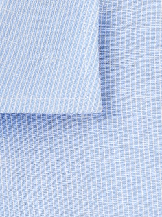 Canali Cutaway-Collar Striped Slub Cotton and Linen-Blend Shirt