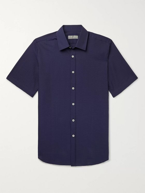 Canali Slim-Fit Cotton-Seersucker Shirt