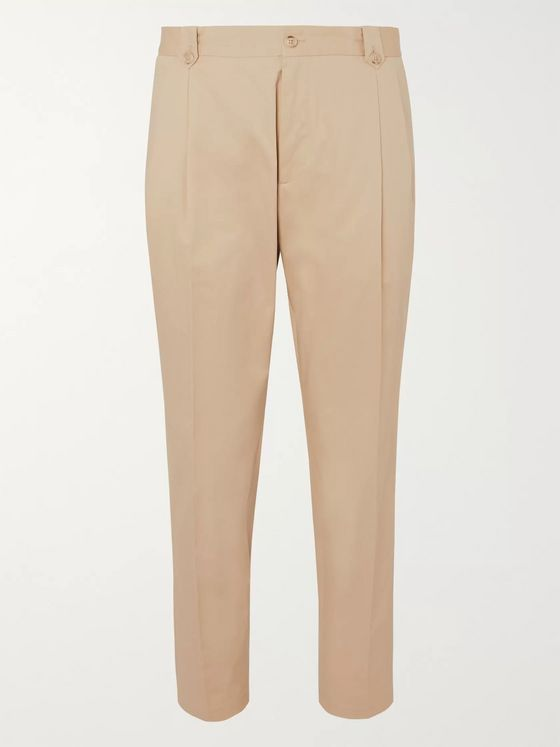 Dolce & Gabbana Tapered Pleated Cotton-Blend Twill Chinos