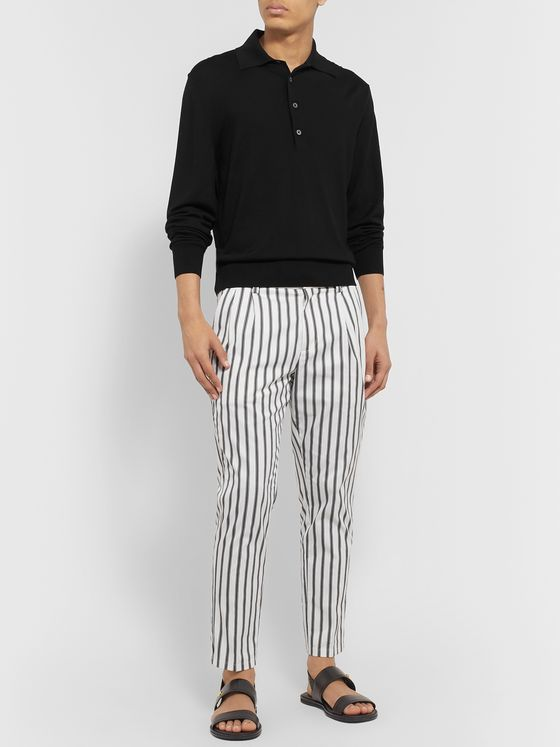 Dolce & Gabbana Tapered Striped Cotton-Blend Drawstring Trousers