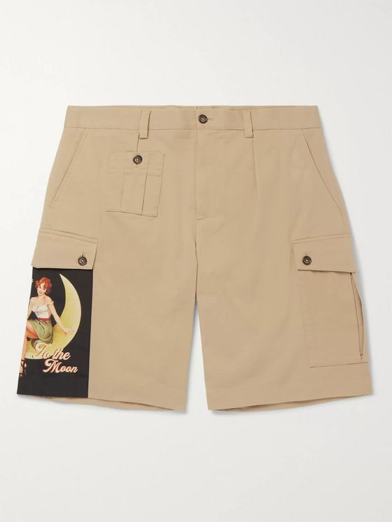 Dolce & Gabbana Appliquéd Stretch Cotton-Gabardine Shorts
